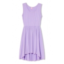 Light Purple Plain Round Neck Ruffle Hem Tank Dress