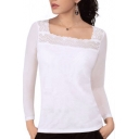White Square Neck Long Sleeve Lace Inserted Top