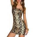 Golden Floral Print Cutout Waist Sleeveless Bodycon Dress