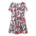 Red Floral Print Short Sleeve Ruffle Hem Dress with Zipper