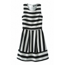Stripes Panel Style Sleeveless Mono Chiffon Dress