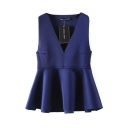 Blue Plain V-Neck Ruffle Hem Vest