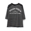 Black 3/4 Sleeve Stripe&Letters Print Lace Insert Loose T-Shirt