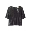Black 1/2 Sleeve Back Zip Lace Illusion Blouse