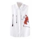 White Sleeveless Lady&Street Lamp Print Chiffon Shirt