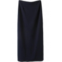 Dark Blue Split Back Pencil Skirt