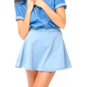 Light Blue Plain Mini Full Denim Skirt