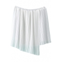 White Plain Mini Skirt with Asymmetrical Hem
