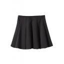 Black Back Zip High Waist Pleated Skirt