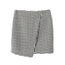 White Houndstooth Mini Skirt with Asymmetrical Hem