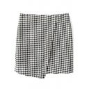 White Houndstooth Mini Skirt with Asymmetrical Hem