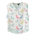 Colorful Horse Print Round Neck Chiffon Top