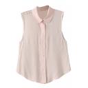 Pink Sleeveless Cotton Crop Shirt
