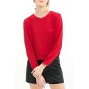 Red Long Sleeve Chiffon Blouse