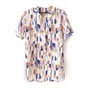 Pink Short Sleeve Geometric Print Stand-Up Collar Chiffon Blouse