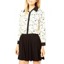 White Color Block Trim Owl Print Chiffon Blouse