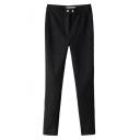 Black Double Button Elastic Pencil Pants