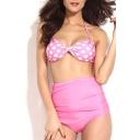 Pink Halter Polka Dot High Waist Bikini Set