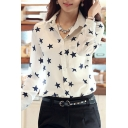 White Long Sleeve Black Star Shirt