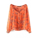 Orange Floral Print V-Neck Long Sleeve Top