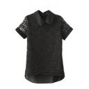 Black Doll Collar Organza Insert Lace Crochet Blouse