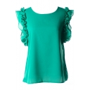 Green Chiffon Sleeveless Ruffle Trim Blouse