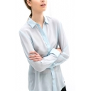 Light Sky Blue Long Sleeve Chiffon Blouse