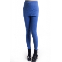 Denim Blue Leggings with Bodycon Skirt Cover