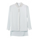 White Rivet Collar Long Sleeve Dip Hem Shirt