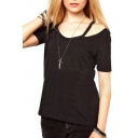 Black Open Shoulder Short Sleeve Plain Fitted T-Shirt