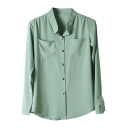 Green Double Pockets Front Chiffon Shirt