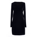 Navy Long Sleeve Round Neck Fitted Bodycon Dress