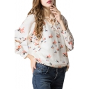 Cream V-Neck Colorful Dove Print Chiffon Blouse