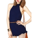 Navy Cross Back Halter Belted Halter Rompers