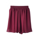 Burgundy Elastic Waist Pleated Chiffon Skirt