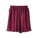 Burgundy Elastic Waist Pleated Chiffon Skirt