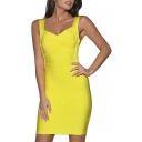 Yellow Strap Open Back Bandage Dress