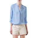 Blue V-Neck Chiffon Concise Shirt