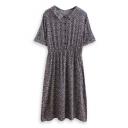Dark Blue Floral Print Lapel Short Sleeve Midi Dress