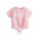 Pink Plaid Letter Print Knotted Hem T-Shirt