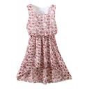 Pink Flora Print Elastic Waist Chiffon Tanks Dress