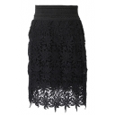 Black Delicate Lace Crochet Pencil Skirt