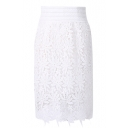 White Delicate Lace Crochet Pencil Skirt