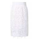 White Delicate Lace Crochet Pencil Skirt