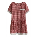 Red Short Sleeve Lace Trim Gingham Pattern Dress