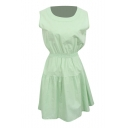 Mint Green Sleeveless Elastic Waist A-line Dress