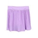 Lilac Fresh Style Pleated High Waist Skirt