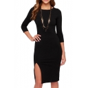 Back Geometric Cutout Style 3/4 Sleeve Split Hem Dress