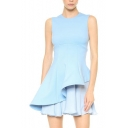 Light Blue Plain Fitted Asymmetric Chiffon Hem Round Neck Sleeveless Dress
