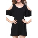 Puff Short Sleeve Plain Open Shoulder Knit Shift Dress